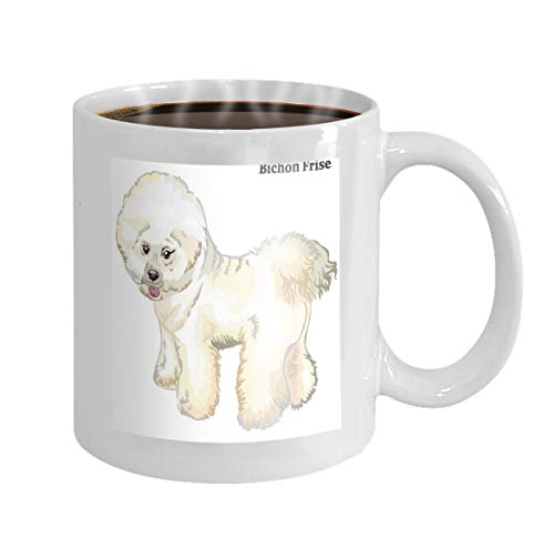 11 oz Coffee Mug colored decorative standing portrait dog bichon frise profile colorful isolated white background Novelty Ceramic Gifts Tea Cup
