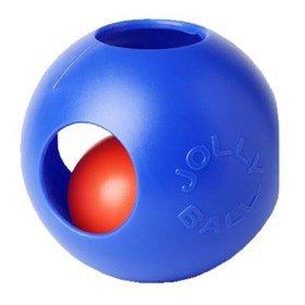 Jolly Ball Teaser Dog Toy - Blue 8''