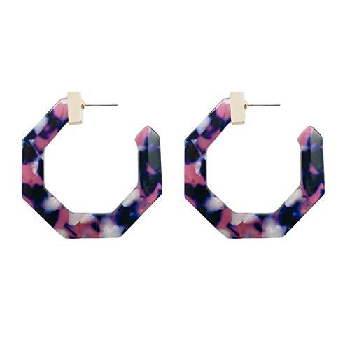 - Acrylic Hoop Earrings, Delicate Polygon Geometric Resin Drop Earrings Minimalist Dangle Earring Statement Tortoise Stud Earrings for Women Girls