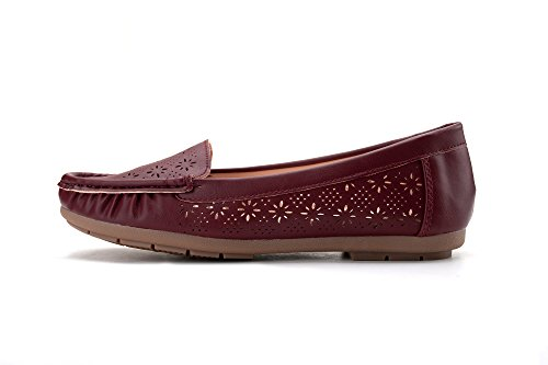 Shoes Ashley Collection on Loafer A Wine Bridget Women Moccasins Boat Slip Drving rTr70wxBq