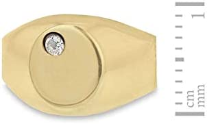 Carissima Gold Women's 9 ct Yellow Gold Cubic Zirconia 7 x 9 mm Oval Signet Ring