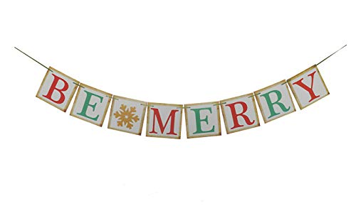 (Be Merry Retro Banner Vintage Garland for Outdoor&Indoor Christmas Home Party Decoration Xmas Ornaments (BE Merry))