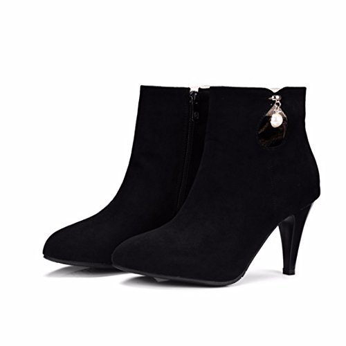 boots shoes heels big size high short Winter Black suede winter and qxnTWRf