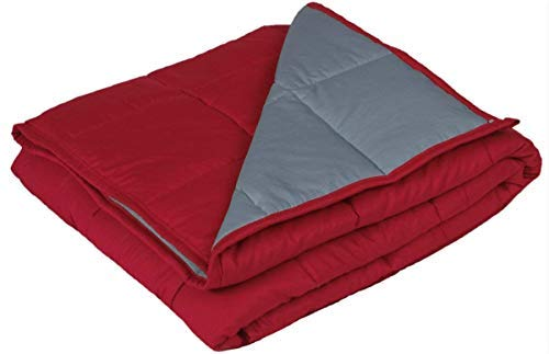 YnM Weighted Blanket, 20lbs 55''x 82'', Gravity 2.0 Cotton Heavy Blanket, Great Sleep Therapy People Anxiety, Autism, ADHD, Insomnia Stress, DarkRed/Dimgray by YnM