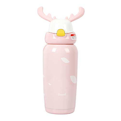 (IKOCO Thermos Water Bottle for Kids & Adult,Vacuum Insulated Bottle,Stainless Steel Travel Mug with Straw,Antlers Thermos Cup Present for Christmas)