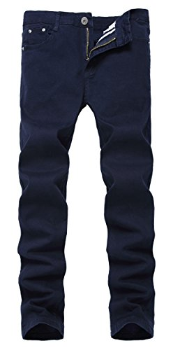 Men's Navy Blue Skinny Slim Fit Stretch Straight Leg Fashion