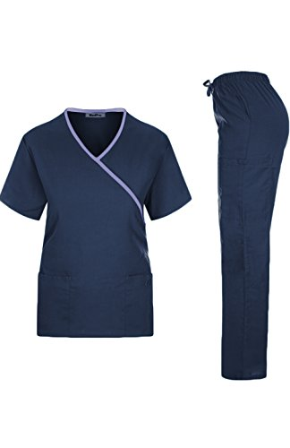 Price comparison product image MedPro Women's Medical Scrub Set Mock Wrap and Cargo Navy 2XL (GT-756)