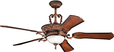Kichler Lighting 300008MDW Kimberley 60-Inch 3-Light Ceiling Fan, Mediterranean Walnut Finish with Reversible Wood Blades and Satin Etched Glass Light Kit