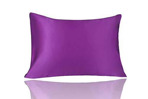 Violet Blue Natural - LULUSILK Natural Silk Pillowcase 100 Pure Mulberry Silk Pillow Cover for Hair and Skin Anti Wrinkle Zipper Closure King Size Violet 1pc 16 Momme