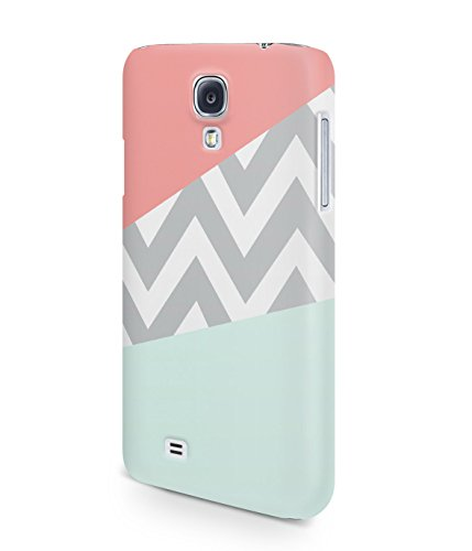 Mint And Coral Pink Chevron Block Plastic Snap-On Case Cover Shell For Samsung Galaxy S4
