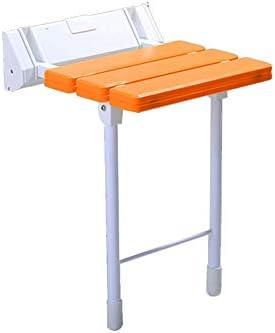 ゴム製の足が付いている壁の折るシャワーシート、浴室の折るシート330ポンドの負荷、高齢者の身体障害者および限られた移動性のための壁に取り付けられた低下葉の腰掛けの折る入浴シート (Color : オレンジ)