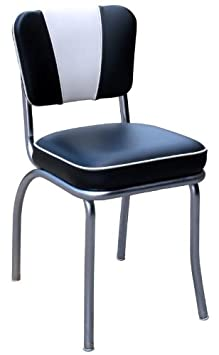 Richardson Seating 4220BLK V-Back Chrome Diner Chair with 2 Box Seat, NULL, Black and White