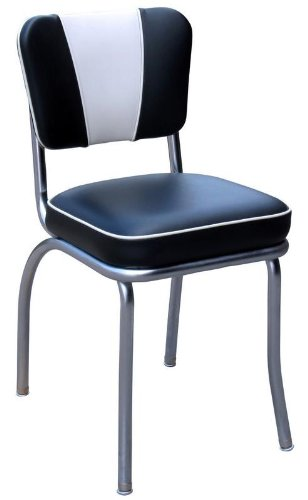 Richardson Seating V-Back Chrome Diner Chair with 2 Box Seat, NULL, Black and White