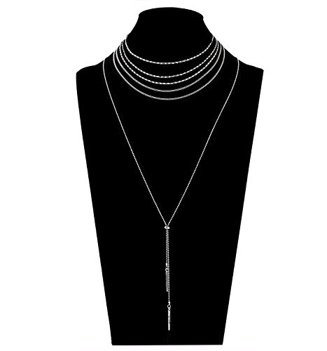 hoker Necklace Set Simple Bar Pendant Beaded Tassel Necklace Boho Separable Y Necklace for Women (Silver) ()