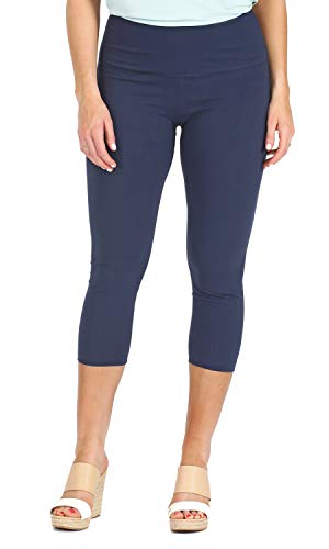 (INTRO. Tummy Control High Waist Pull-On Capri Length Cotton \ Spandex Legging Ink Blue Size Petite Extra Large)