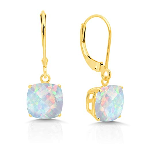 14k Yellow Gold Created Opal Dangle Leverback Earrings (8mm)