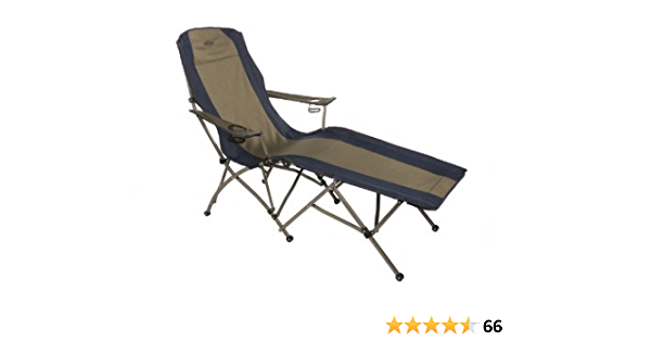Blue Kamp-Rite Outdoor Camping Furniture Beach Patio Sports Folding Lawn Chair with Detachable Footrest and Cup Holders