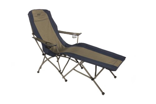 Elite Chaise - Kamp-Rite Folding Lounge Chair, Tan/Blue