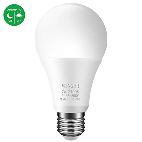 - Dusk to dawn Lights Bulb, MINGER 7W Smart LED Bulbs with Auto on/off, 60W Equivalent Indoor/Outdoor Lighting Lamp for Porch, Hallway, Patio, Garage (E26/E27, 600lumen, Warm White)