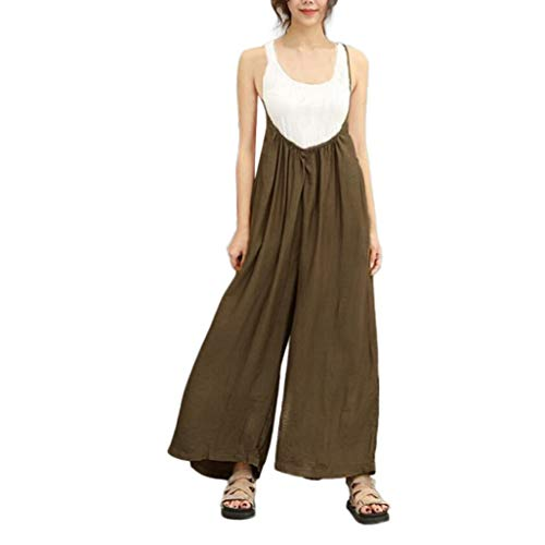 iYBUIA Cotton Wide Leg Pants for Women Vocation Dungarees Casual Jumpsuits Long Trousers Rompers(Brown,S)