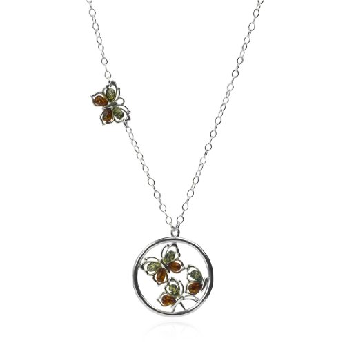 Sterling Silver Multicolor Amber Butterflies Pendant Necklace 21 Inches
