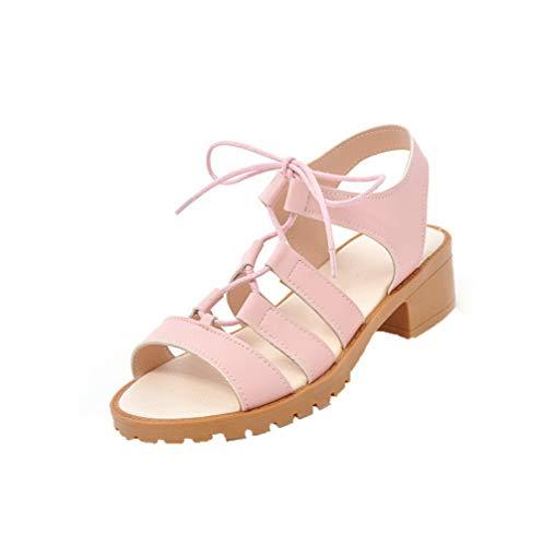 AalarDom Women's Lace-Up Open-Toe Low-Heels Pu Solid Sandals,