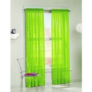 WPM  60 x 63-Inches Sheer Window Elegance Curtains/drape/panels/treatment, Lime Green (Curtains Green Lime Drapes)