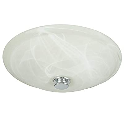 Hunter Home Comfort 80200a Hunter Boswell Decorative Bathroom Ventilation Fan with Light and 3 Interchangeable Finials Included (Chrome, White, and Oil-Rubbed Bronze), Swirled Marble Glass