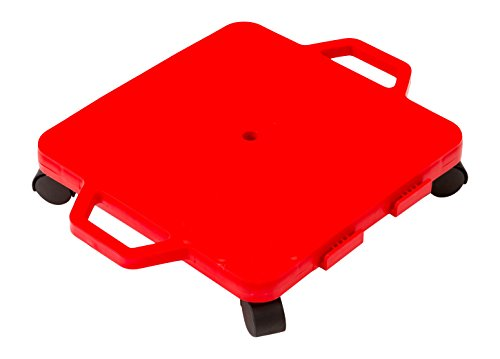 Cosom Scooter Board, 16 Inch Children's Sit & Scoot Board with 2 Inch Non-Marring Nylon Casters & Safety Guards for Physical Education Class, Sliding Boards with Safety Handles, Red ()