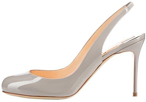 Calaier Mujer Caweather Tacón De Aguja 10CM Sintético Hebilla Sandalias de vestir Zapatos Gris
