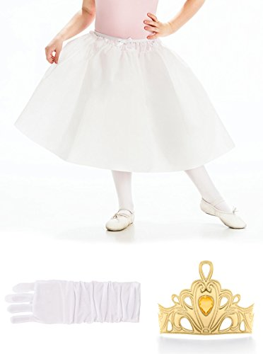 The Princess Frog Tiana And Adults Costumes (Little Adventures Gold Crown, Gloves, & Slip Princess Accessory Bundle for Girls - Large (5-7)