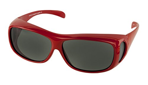 LensCovers Wear Over Sunglasses for Men and Women. Size Large Slim Red ()