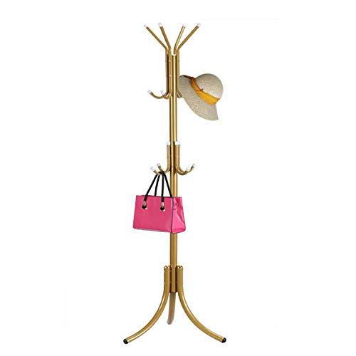HTTH Standing Entryway Coat Rack Hat Hanger Holder 12 Hooks for Jacket Umbrella Tree Stand Metal Coat Hanger Home Decor (Gold)