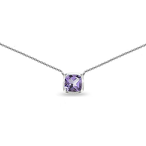 Sterling Silver Genuine, Created or Simulated Gemstone Cushion-Cut Bezel-Set Solitaire Short Choker Necklace for Girls, Teens, Women