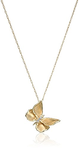 Yellow Diamond Accent - 10k Yellow Diamond Accent Butterfly Pendant Necklace, 18