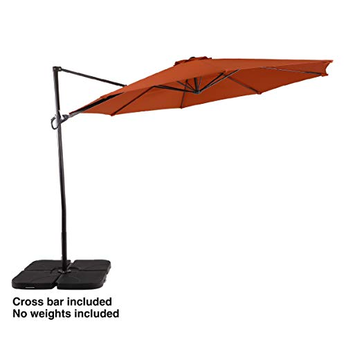 PHI VILLA 11ft Cantilever Patio Umbrella Offset Market Umbrella - 8 Positions - Cross Base Included,...