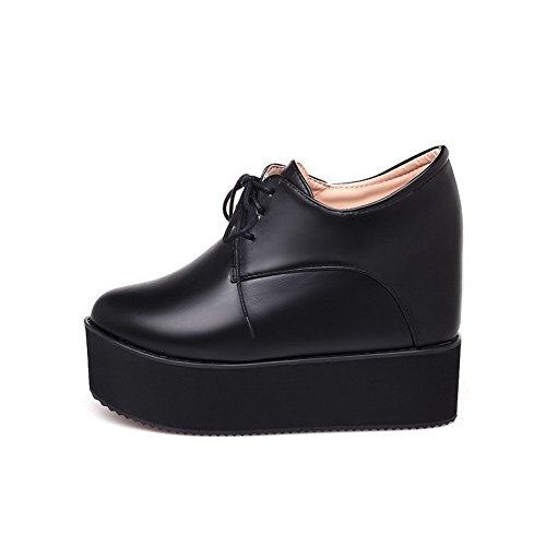 Femme Mélangee Rond à Unie Couleur VogueZone009 Lacet Chaussures Haut Matière Noir Légeres Talon wgSdfx