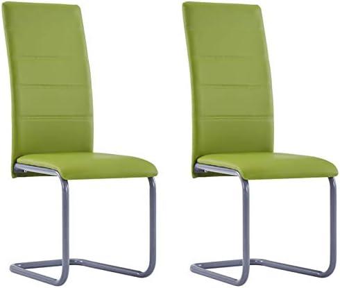 Tidyard Chaises de Salon/Chaise de Salle à Manger/Chaises d'extérieur/Chaises de Salle à Manger Cantilever 2 pcs Vert Similicuir