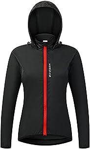 Women's Long Sleeve Cycling Hooded Jacket Windproof Reflective Windbreaker Riding Running Outdoor Sports