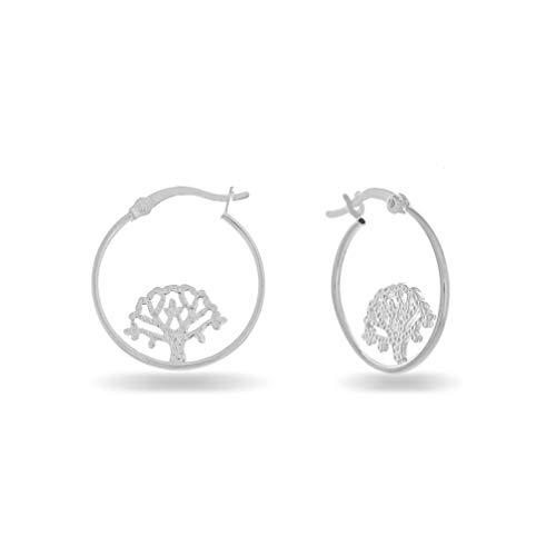 PORI JEWELERS Sterling Silver Tree of Life Hoop Earrings - for Women - French Lock