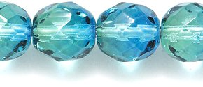 Preciosa Faceted Round, Two Tone Aqua/Green Fire Polished Glass Bead, 8mm,