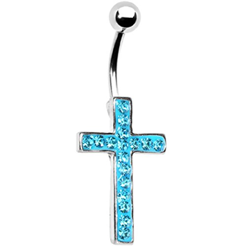 Dangle Cross Belly Button Rings Halloween Sexy Navel Piercing Jewelry Surgical Steel 14G for Women (Blue)