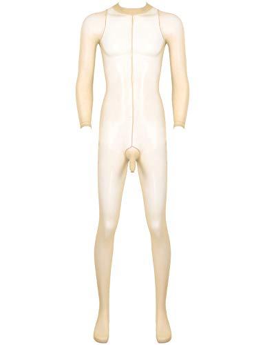 FEESHOW Mens Mesh Sheer See Through Skinny Tights Full Body Ultra-Thin Pantyhose Body Stockings