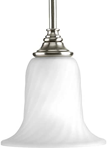 Progress Lighting P5141-09 Traditional One Light Mini Pendant from Kensington Collection in Pwt, Nckl, B S, Slvr. Finish, Brushed Nickel