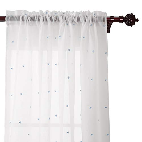 Deconovo White Sheer Curtains 84 inches Long Voile Drape Curtains Rod Pocket Star Embroideried Sheers for Nursery 52x84 2 Panels Blue ()