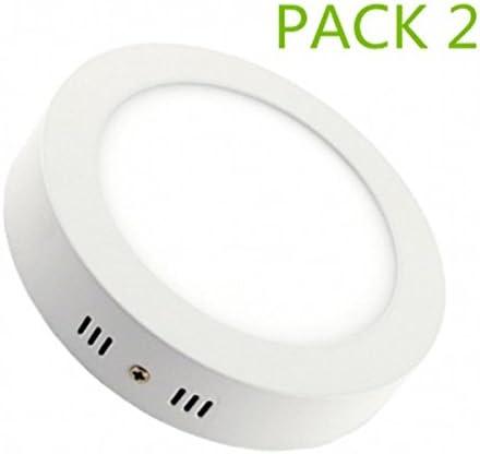 Plafon LED Circular Superficie 24W Pack 2 Downlight LED Blanco Frío 6000k-6500K: Amazon.es: Iluminación