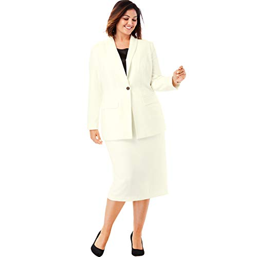 Jessica London Women's Plus Size Single-Breasted Skirt Suit - Ivory, 22 - Ivory Womens Skirt Suit