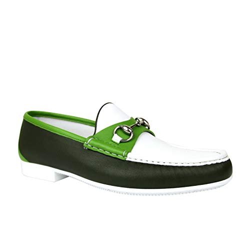 Gucci Horsebit White/Dark Green/Light Green Leather Loafer Moccasin 337060 AYO70 3368 (9 G / 10 US)