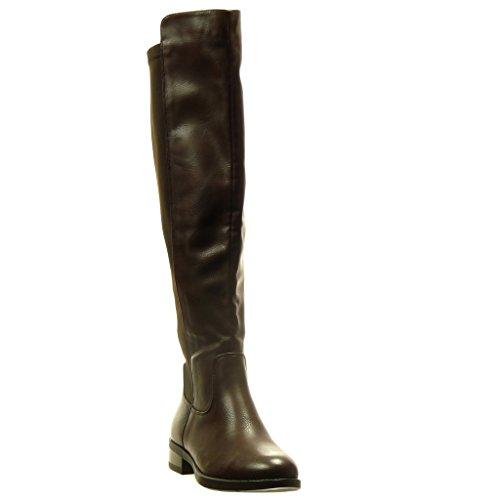 Angkorly - Zapatillas de Moda Botas flexible mujer Talón Tacón ancho 2.5 CM - Marrón
