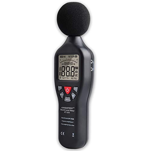 KASUNTEST Professional Sound Level Meter Digital Noise Tester with Data Logger Function Range:30 to 130dB with Large LCD Display and Backlit